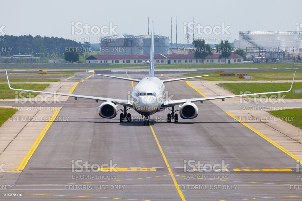 Boing 737 - 8AS from Ryanair on airport stock photo