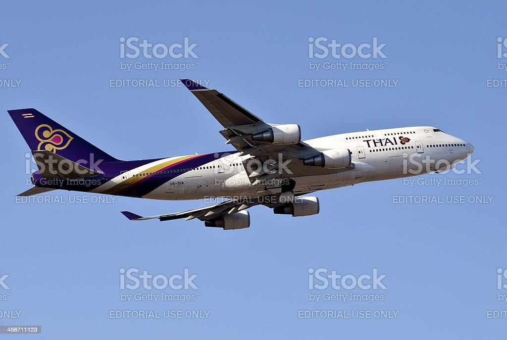 Boing 747 taking off stock photo