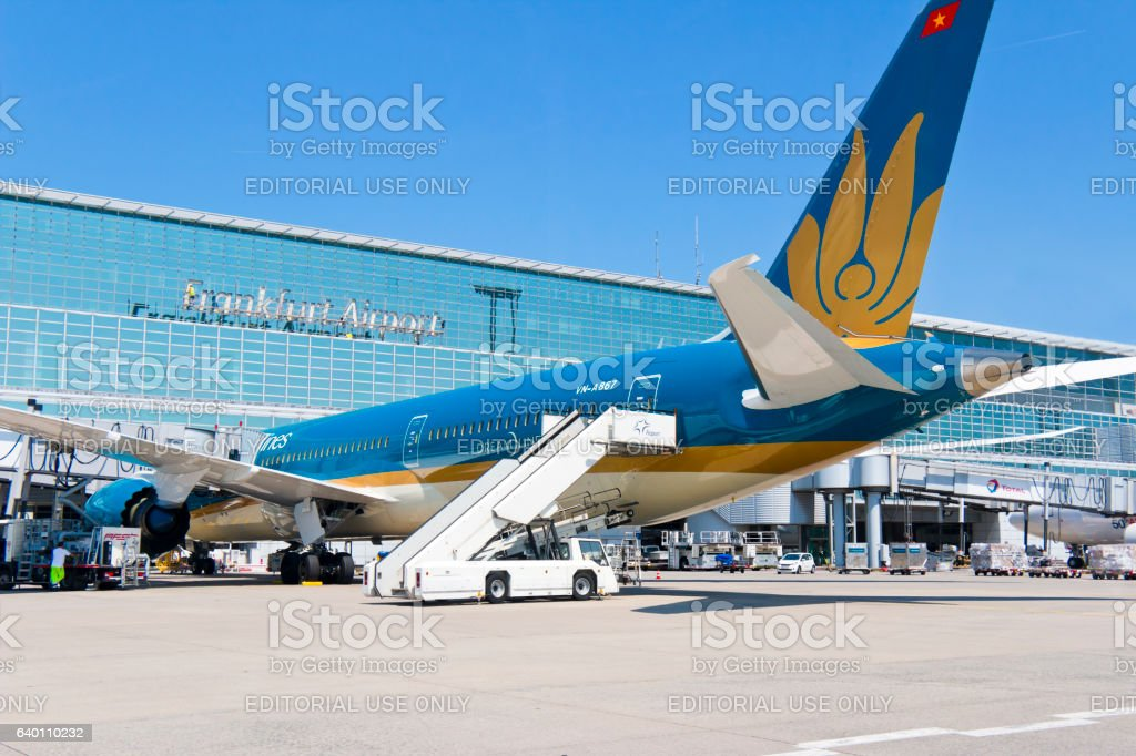 Boing Dreamliner of Vitnam Airline at the Airport Frankfurt Germany stock photo