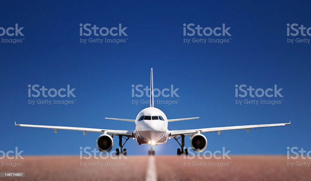 Boing on runway royalty-free stock photo