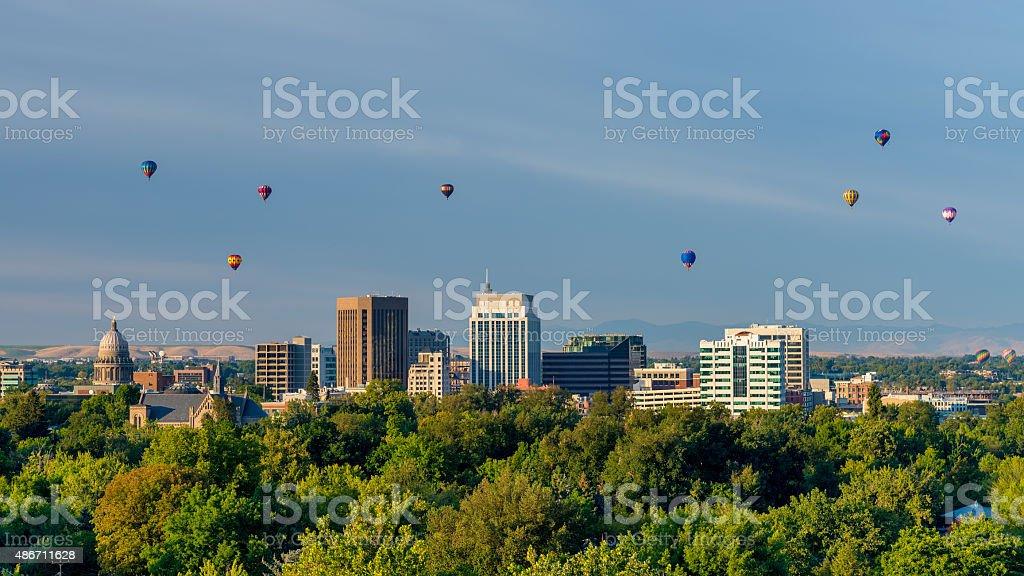 Boise Balloon festival and skyline stock photo