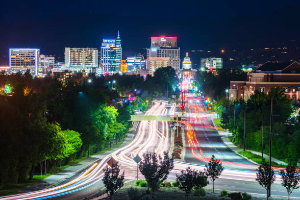 Boise cityscape at night with traffic light. stock photo
