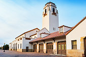 Stock photograph of the landmark Boise Depot, a former railway station now belonging to the city of Boise Idaho USA.