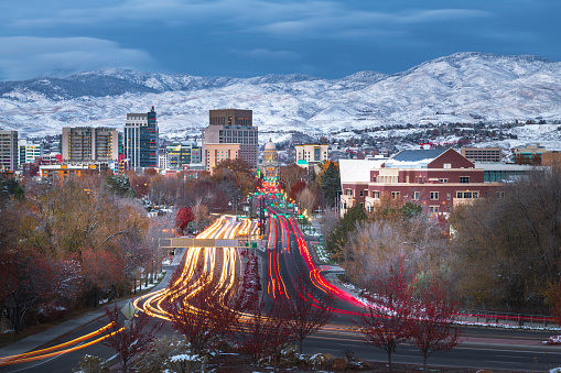 Downtown Boise, Idaho USA at dusk with traffic long exposure.