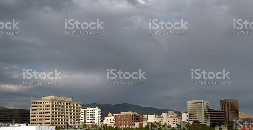 Boise, Idaho Downtown Skyline with a Storm Approaching royalty-free stock photo