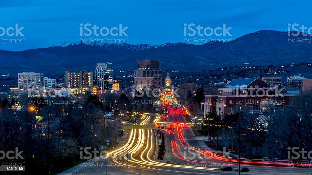 Boise Idaho night secene of Capital boulevard stock photo