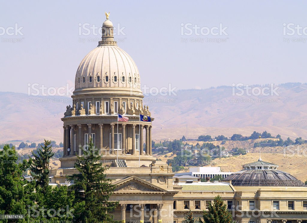 Boise, Idaho State Capitol with flags waving on a sunny day stock photo