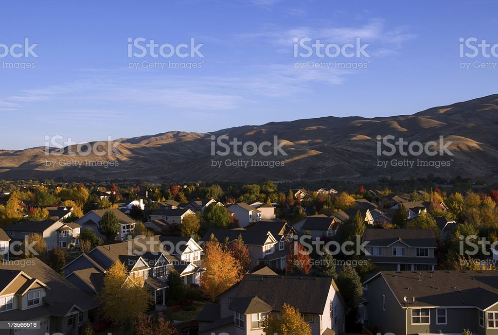 Boise neighborhood in the fall royalty-free stock photo