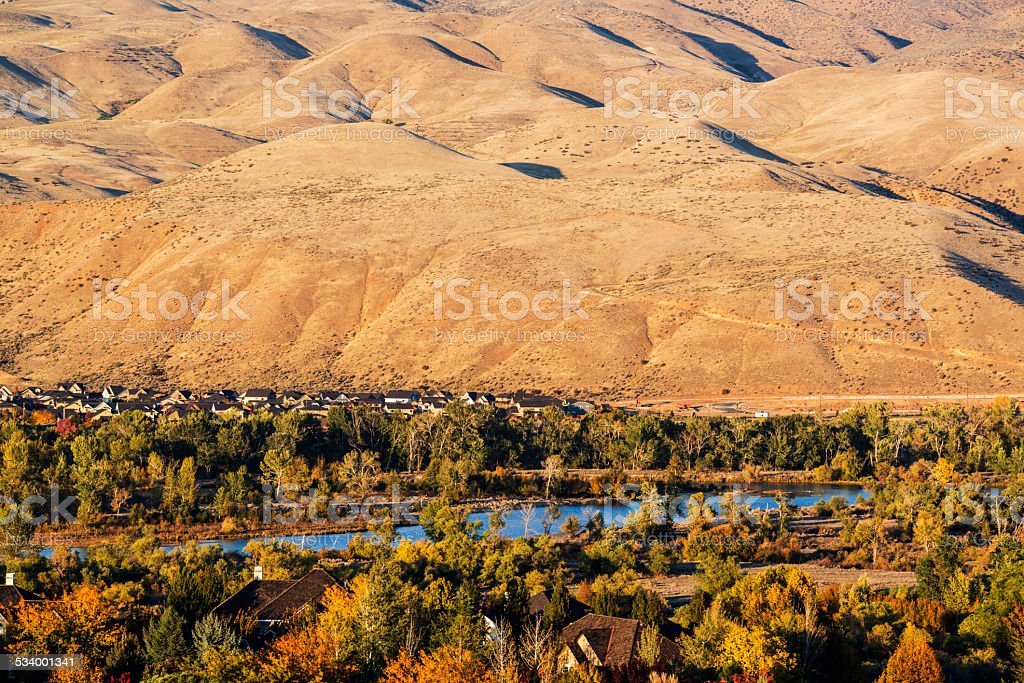 Boise River and foothills in autumn stock photo