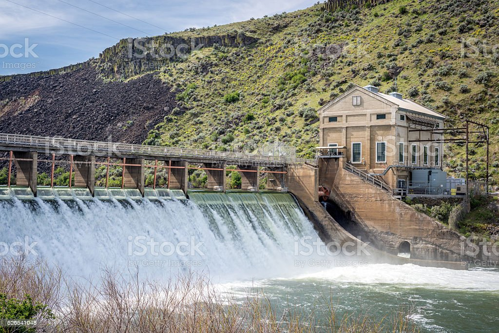 Boise river diversion dam with high spring runoff stock photo
