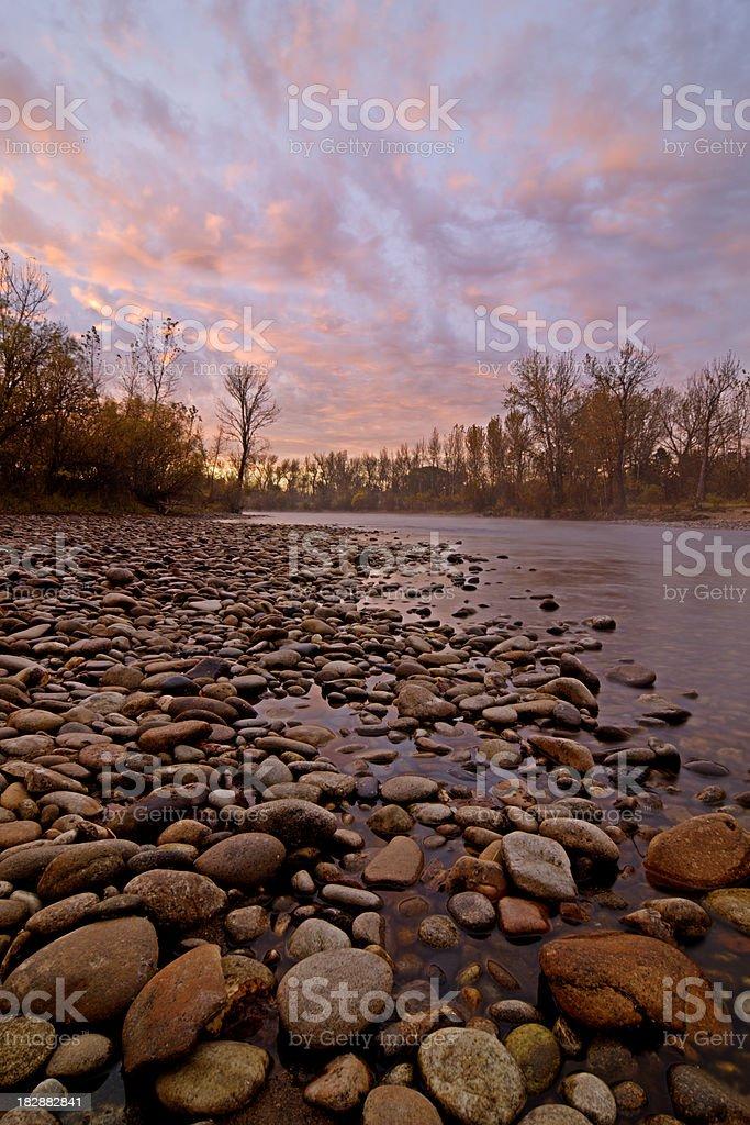 Boise River sunrise stock photo
