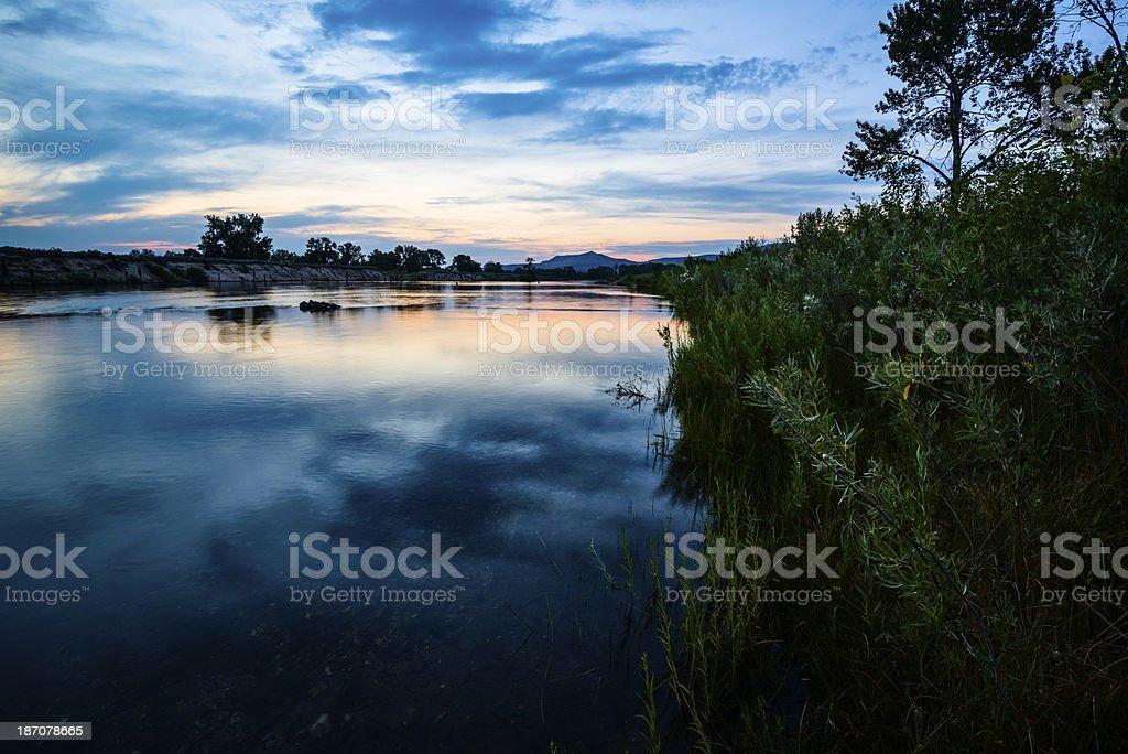 Boise River sunset, Idaho stock photo