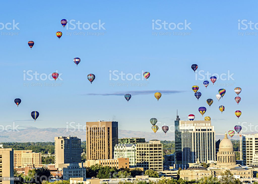 Boise skyline and many hot air balloons stock photo