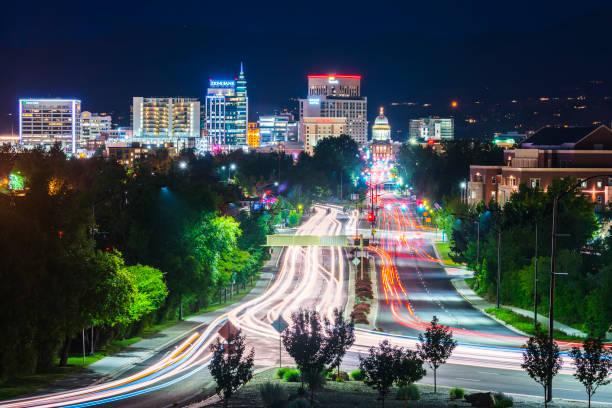Boise,idaho,usa 2017/06/15 : Boise cityscape at night with traffic light. stock photo