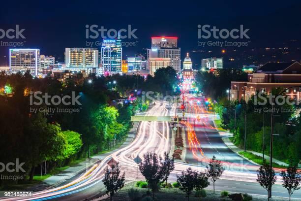 Photo of Boise,idaho,usa 2017/06/15 : Boise cityscape at night with traffic light.