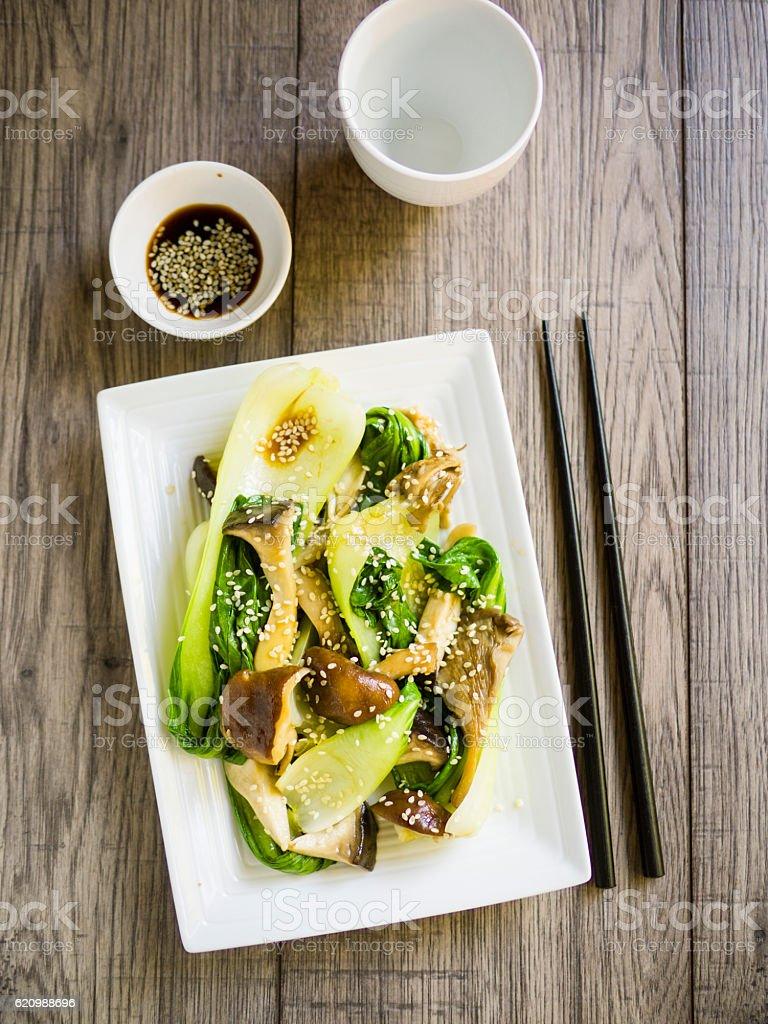 bok choy and mushroom stir-fried stock photo