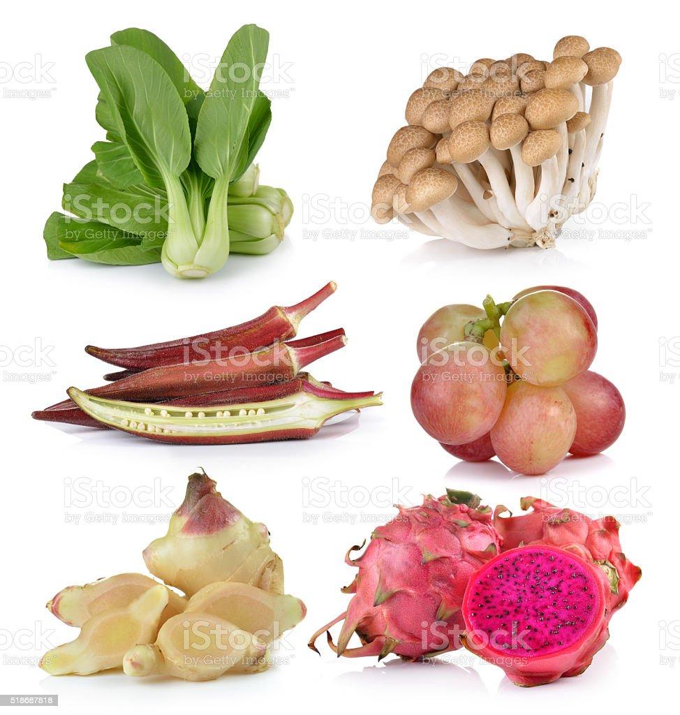 Bok choy,roselle, grapeginger, dragon fruit , mushrooms on white stock photo