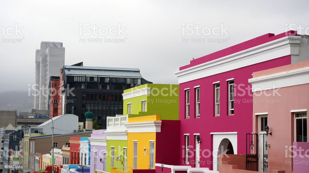 Bo-Kaap is a Muslim region of Cape Town, with bright beautiful houses. Cape Town stock photo