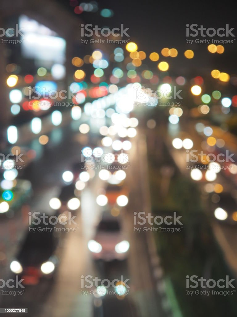 Bokah light car in the City Beautiful background stock photo