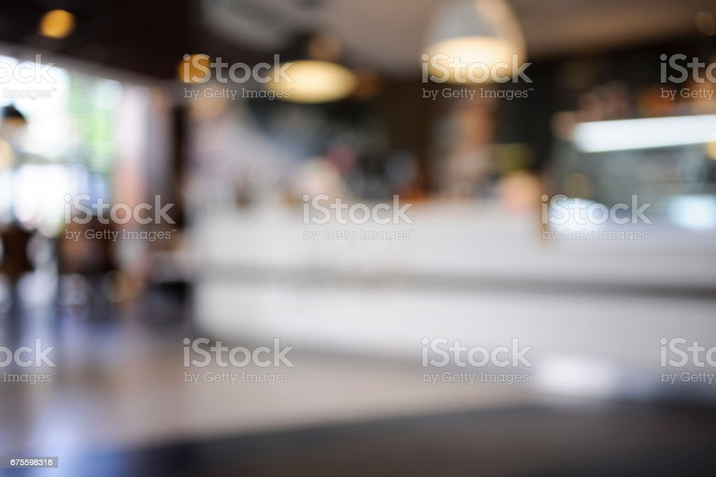 Bokeh Background - Fast Food Interior stock photo