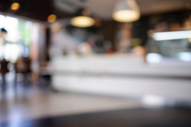 bokeh background - fast food interior - fast food restaurant stock pictures, royalty-free photos & images