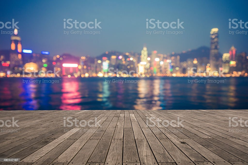 bokeh background  of Hong Kong Cityscape stock photo