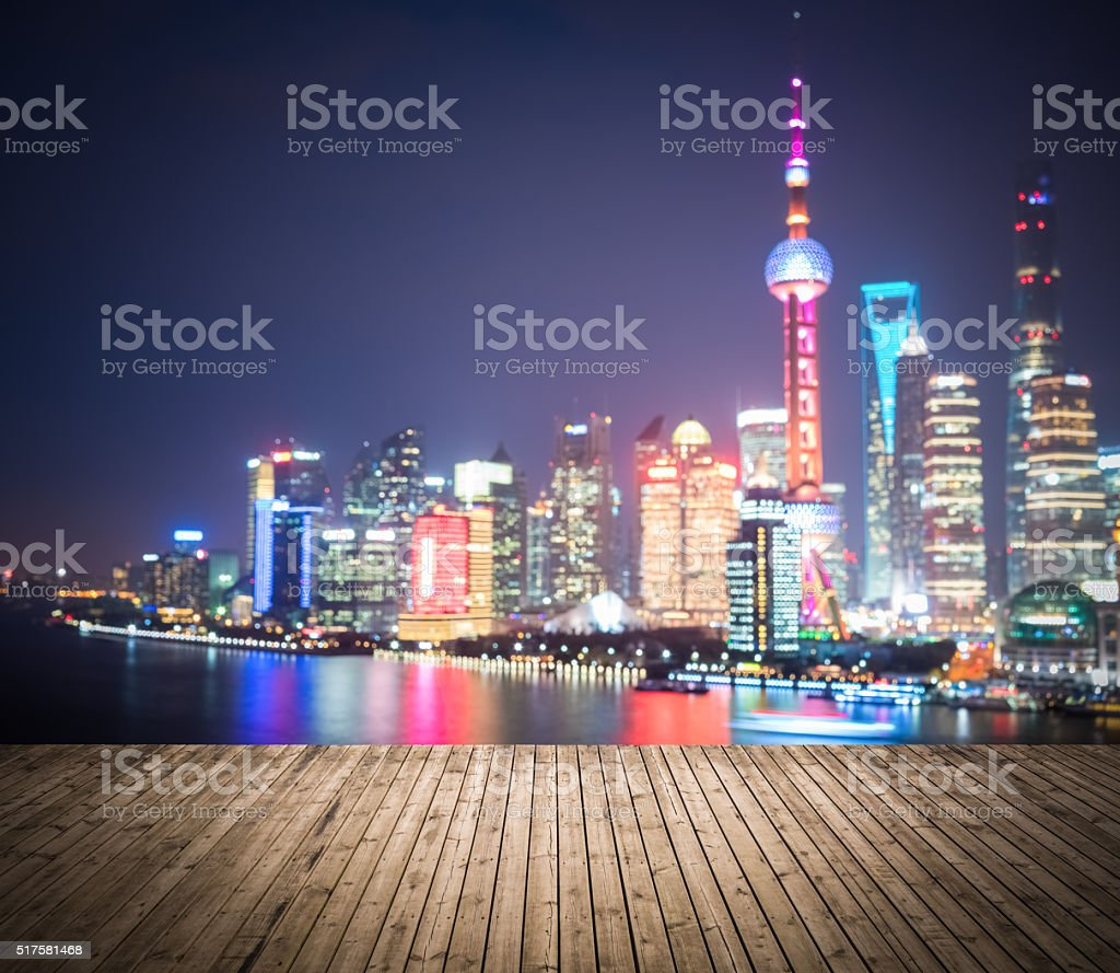 bokeh background of shanghai pudong skyline stock photo