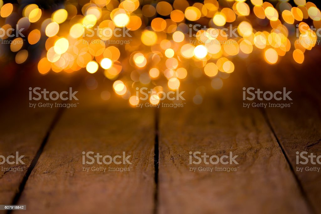 Bokeh background with empty wooden boards stock photo