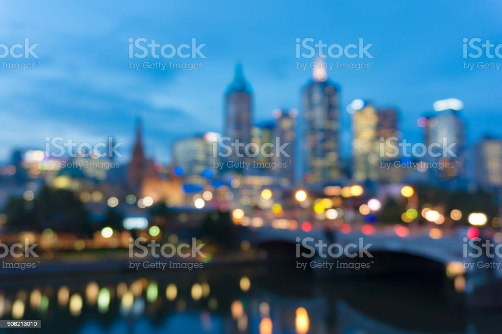 Bokeh, blurred background of cityscape at night stock photo