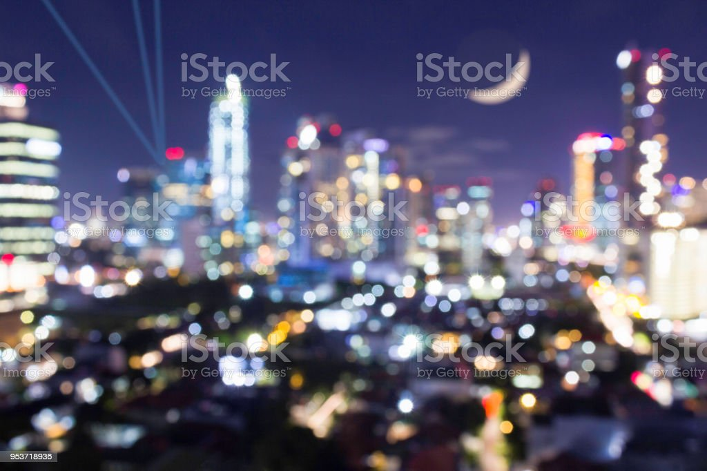 Bokeh blurred club and venue concept.  City at night for night life concept stock photo