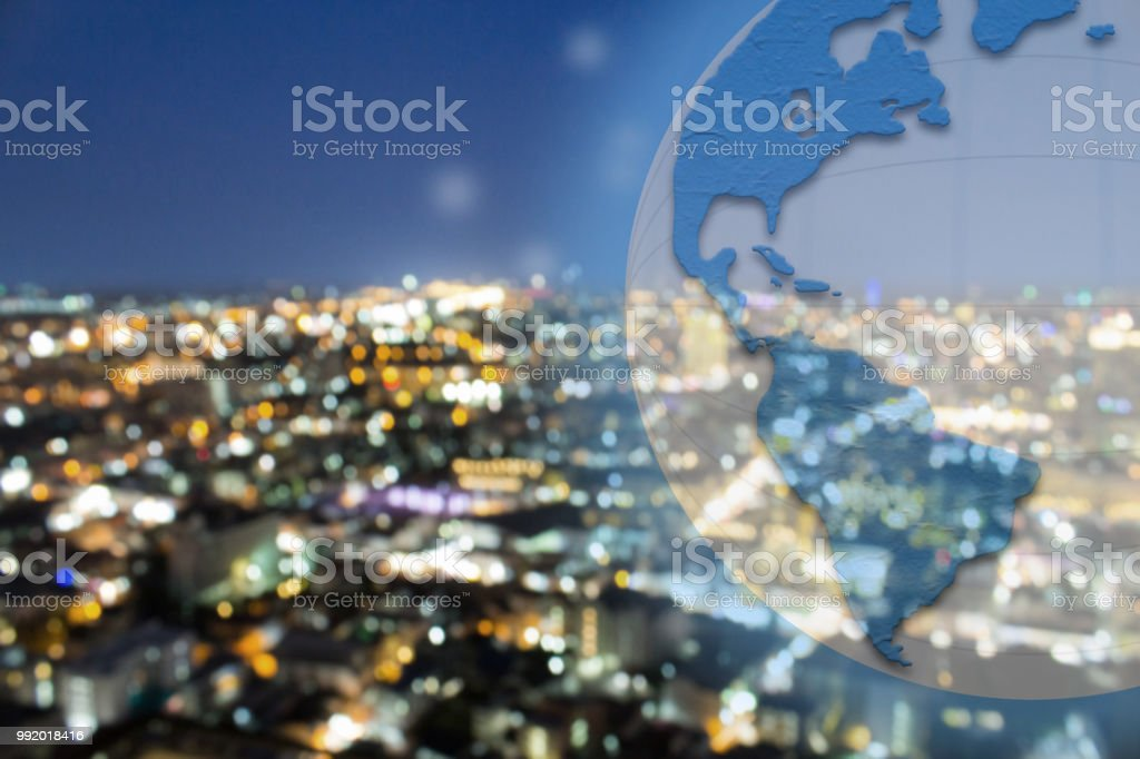 Bokeh City Skyline With Blue And White Earth Overlay