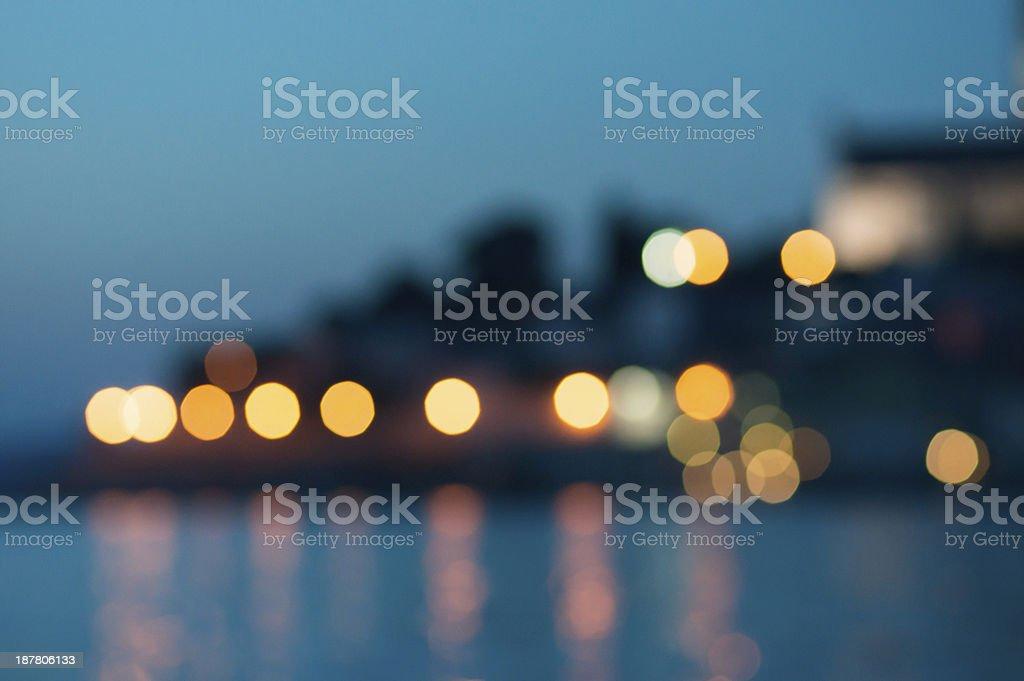 bokeh coast lights royalty-free stock photo