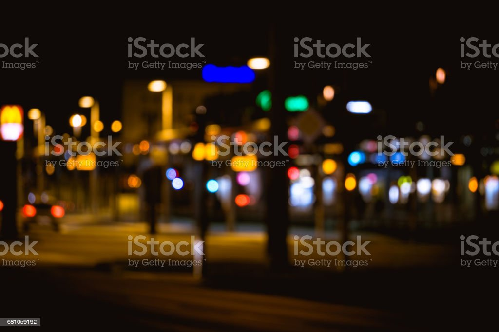 Bokeh effect from street lights and car at night. royalty-free stock photo