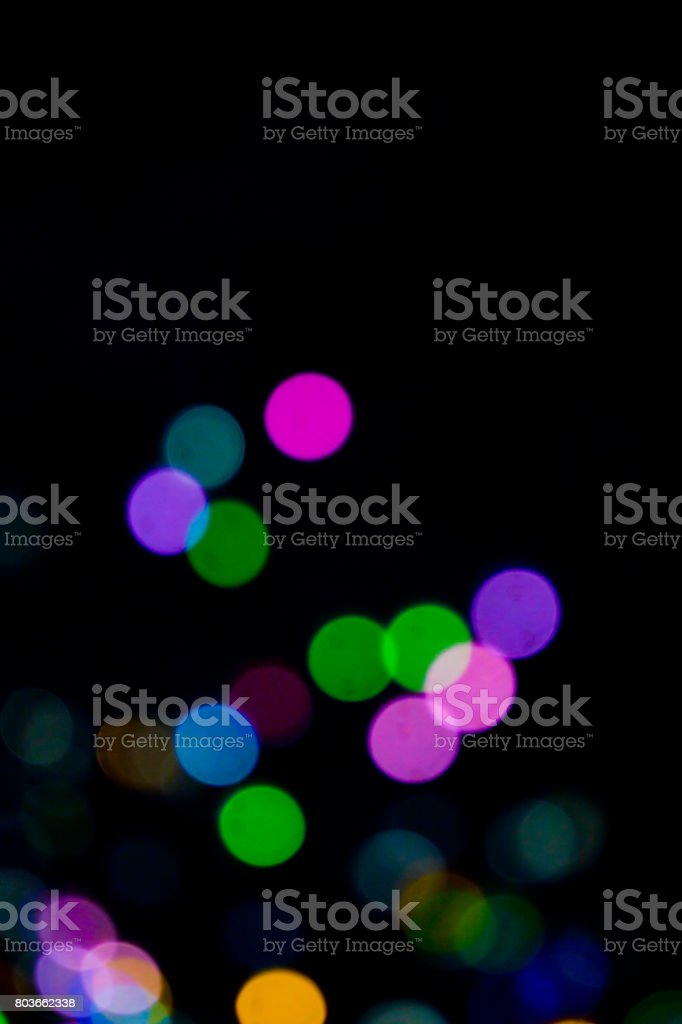 Bokeh Glitter Circles On Black Background Stock Photo