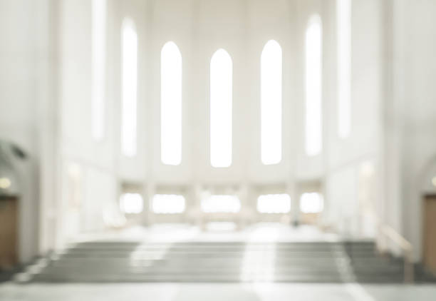 bokeh interior of modern  lutheran, christian church - godsdienstige gebouwen stockfoto's en -beelden