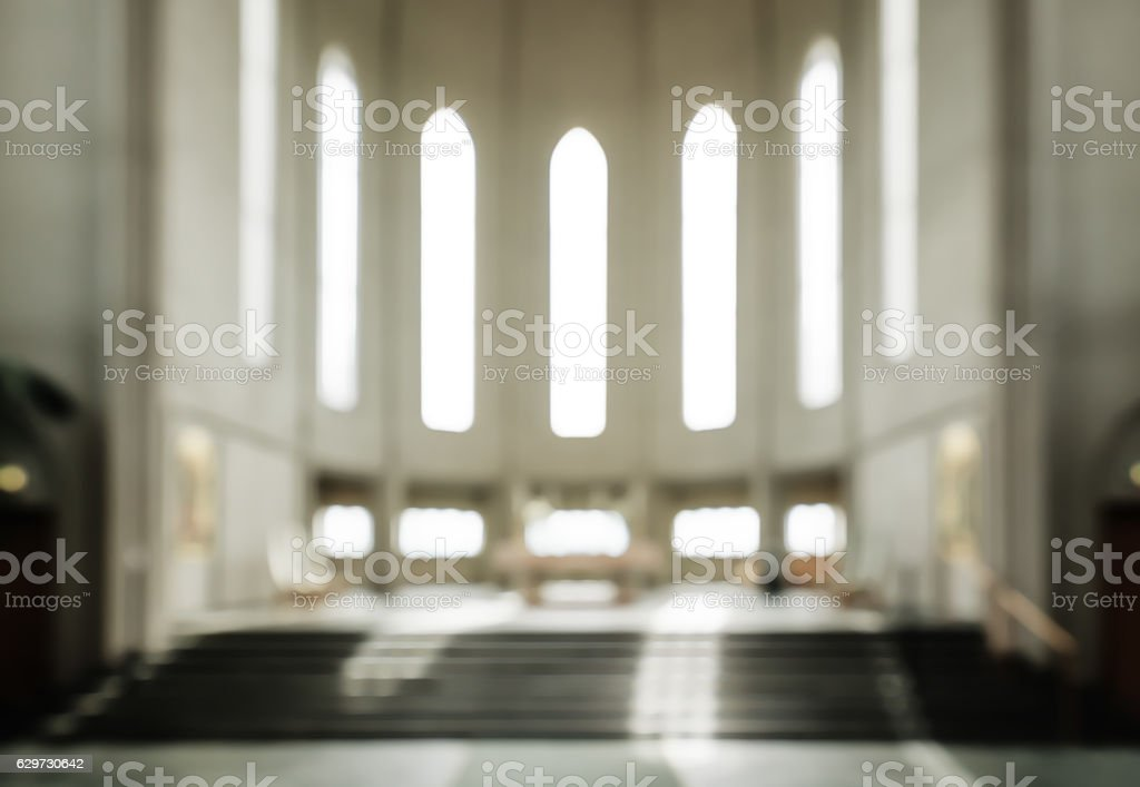 bokeh interior of modern  lutheran, christian church stock photo