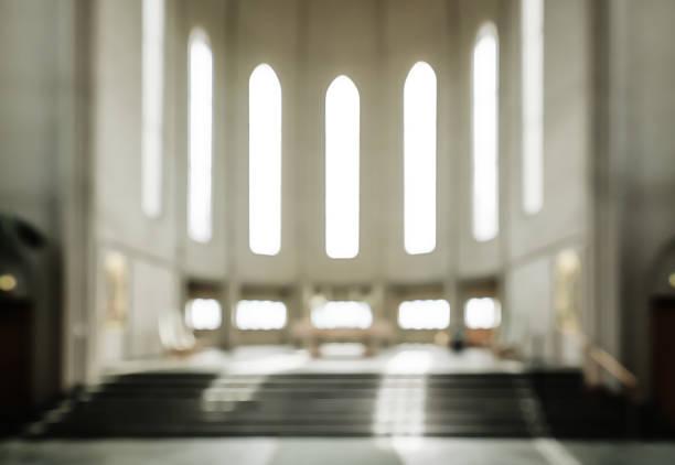 bokeh interior of modern  lutheran, christian church - altar stock-fotos und bilder