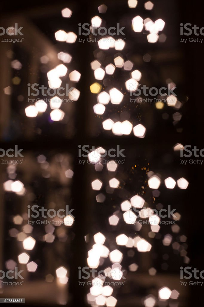 bokeh light in window stock photo
