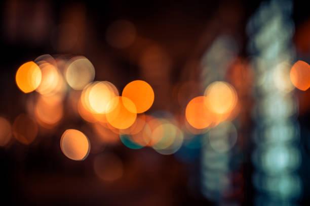 Bokeh light pattern in the city, defocused