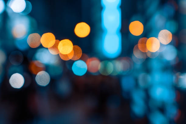 Bokeh light pattern in the city, defocused stock photo
