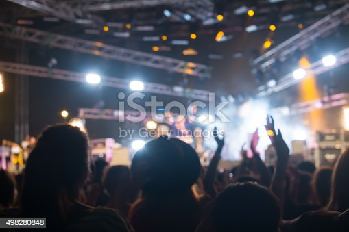 istock Bokeh lighting in outdoor concert with cheering audience 498280848