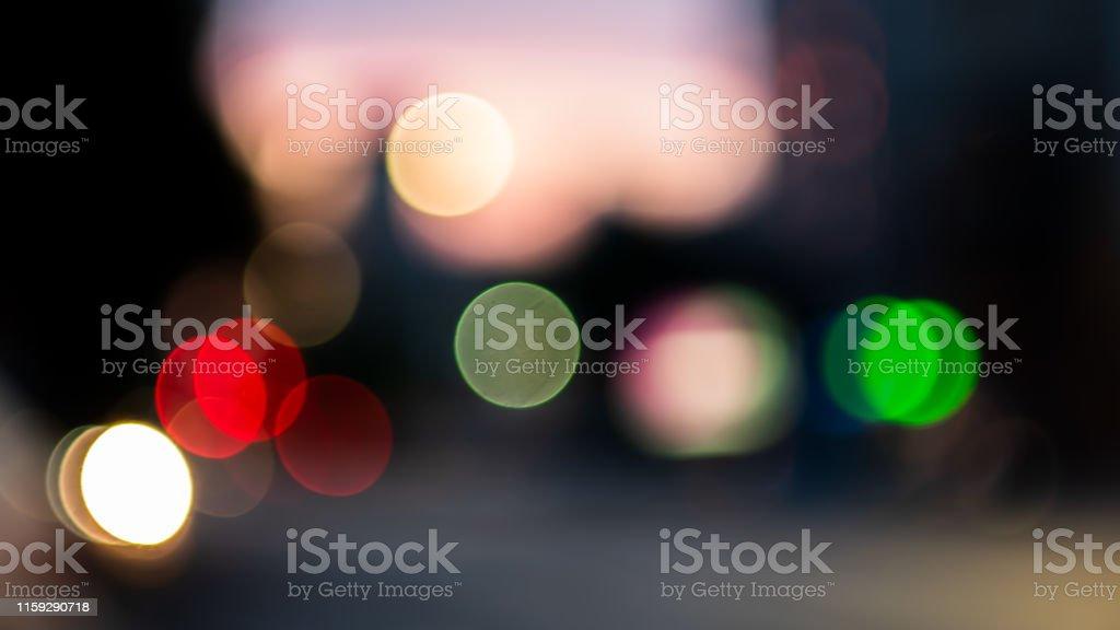 Bokeh lights on road in the city, night lights in city, street lights...