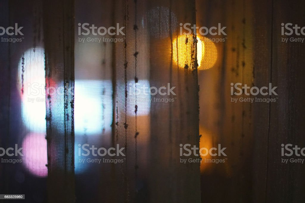 Bokeh Lights through Curtain Background royalty-free stock photo
