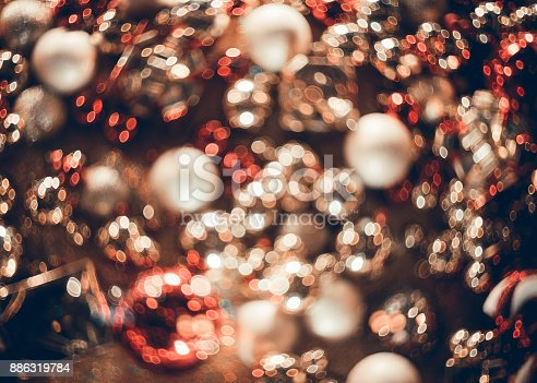 istock Bokeh. New Year bokeh background. Abstract background with colorful bokeh. Defocused lights. Background for Christmas cards. Beautiful blurred christmas balls. Christmas Lights. Christmas decorations 886319784