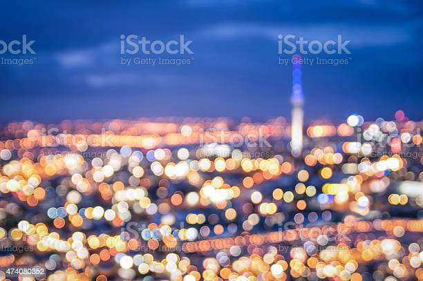 Photo of Bokeh of Auckland skyline from Mount Eden after sunset