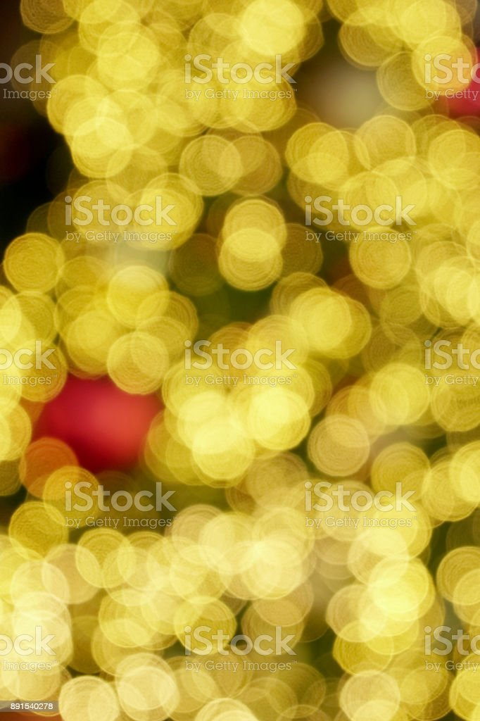 Bokeh of light and decoration on Christmas tree stock photo