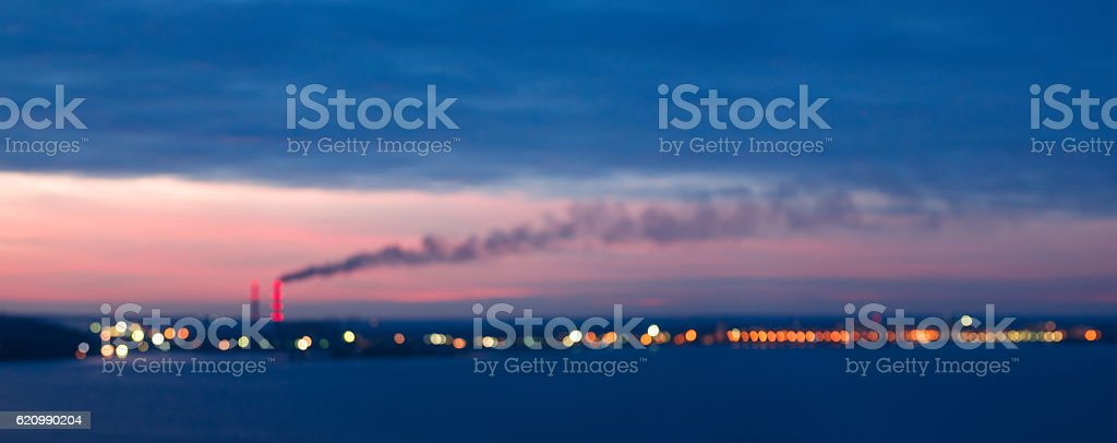 Bokeh of thermal power plant at twilight foto royalty-free