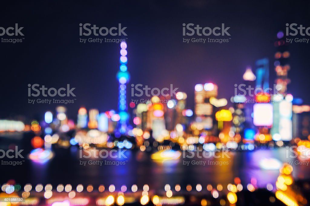 bokeh Shanghai at night,china stock photo