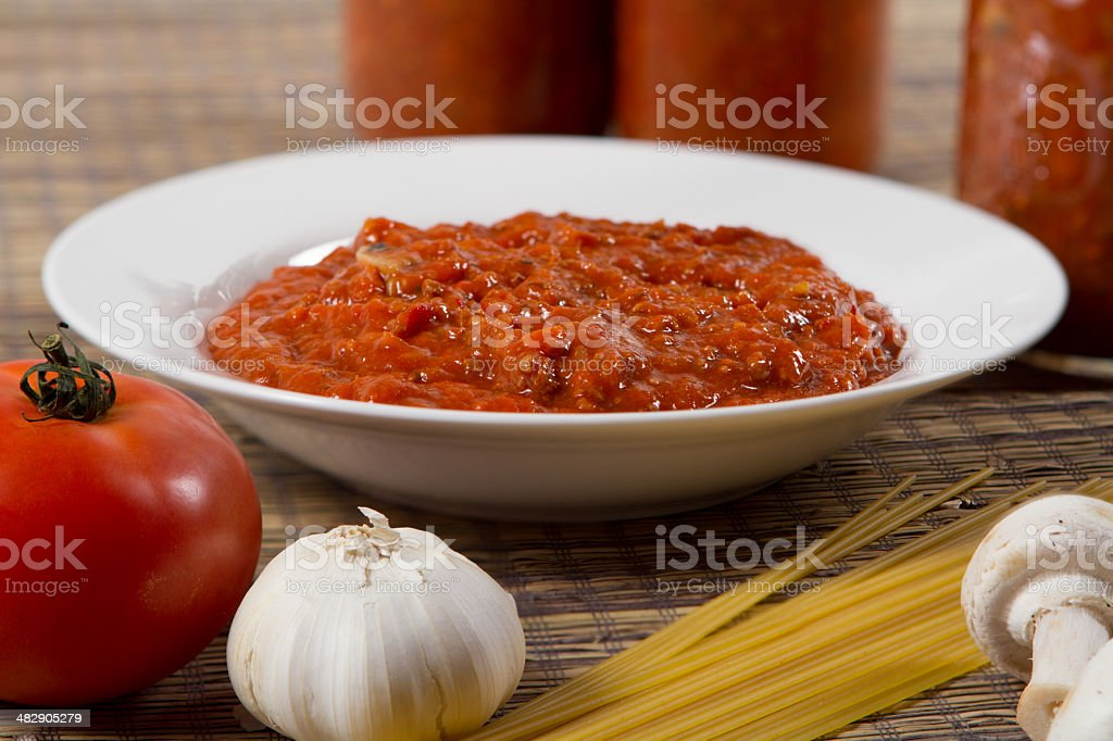 bol of spaghetti sauce stock photo