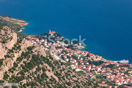 Bol on Brac island panoramic aerial view, Dalmatia, Croatia. Town of Bol from Vidova Gora aerial view, Island of Brac, Dalmatia, Croatia.